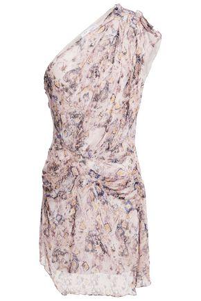 """IRO فستان قصير """"فريزيا"""" بتصميم ملموم ومكشوف الكتف من الشيفون الحريري"""