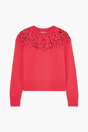 JONATHAN SIMKHAI Cropped macramé-paneled knitted sweater