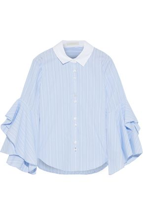 JONATHAN SIMKHAI Ruffled striped cotton-poplin shirt