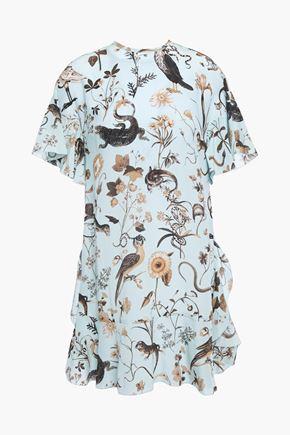 REDValentino Ruffled printed silk crepe de chine mini dress