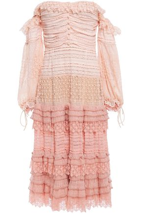 JONATHAN SIMKHAI Off-the-shoulder ruffled point d'esprit and crocheted midi dress
