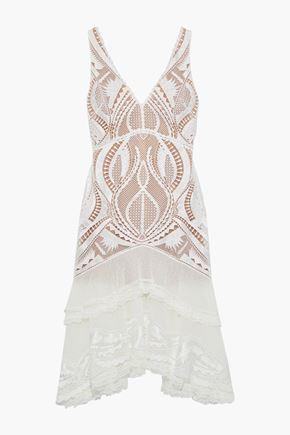 JONATHAN SIMKHAI Tiered embroidered tulle-paneled macramé lace dress