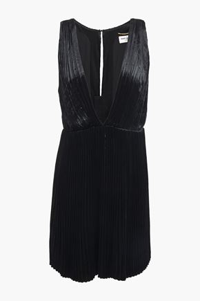SAINT LAURENT Pleated velvet mini dress