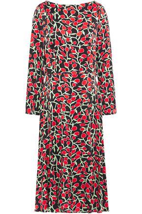 GHOST Printed satin midi dress