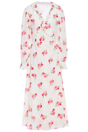 GHOST Elize floral-print cotton-georgette midi wrap dress