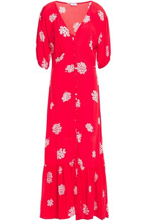 GHOST Izzy gathered floral-print crepe maxi dress