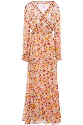 GHOST فستان طويل بتصميم ملفوف من قماش جورجيت المطبع بالورود مع كشكش