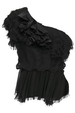 JOHANNA ORTIZ توب مكشوف الكتف من الحرير الرقيق مع حواف منسلة وزخرفات مطبّقة