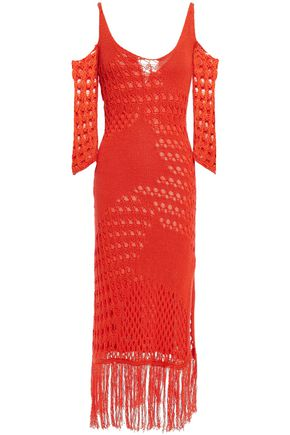 ALTUZARRA Cold-shoulder crocheted cotton-blend midi dress