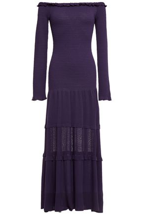 ALTUZARRA Off-the-shoulder ruffle-trimmed stretch-knit midi dress