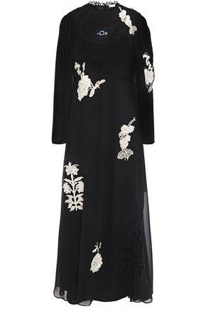 REDValentino Embroidered gathered chiffon midi dress