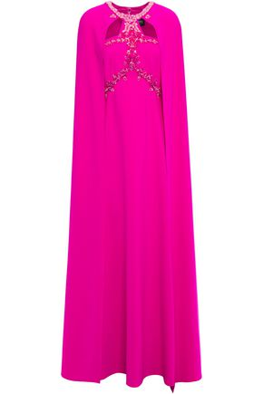 MARCHESA NOTTE Cape-effect embellished cady gown