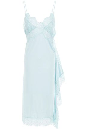 STELLA McCARTNEY Lace-trimmed stretch-jersey midi slip dress