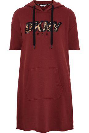 DKNY Appliquéd cotton-blend fleece hooded mini dress
