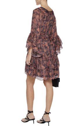 IRO Vanille layered floral-print crepe mini dress