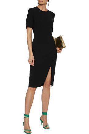 Black Halo Joanna Button-detailed Cady Dress In Black