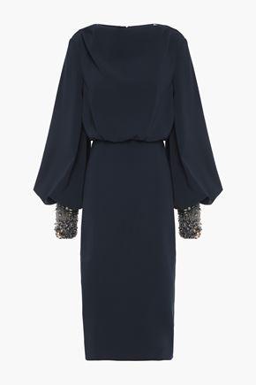 BADGLEY MISCHKA Gathered embellished stretch-cady dress