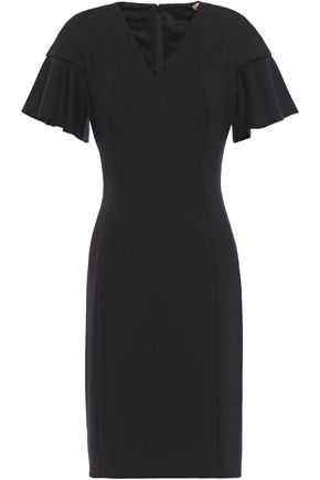 ELIE TAHARI Ruffled ponte mini dress