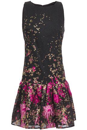 MARCHESA NOTTE Gathered metallic fil coupé cloqué mini dress