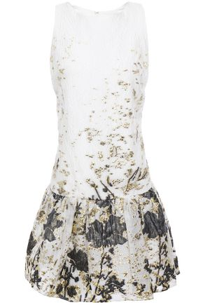 MARCHESA NOTTE Gathered metallic fil coupé cloqué mini dress