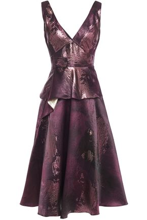 MARCHESA NOTTE Metallic jacquard peplum midi dress