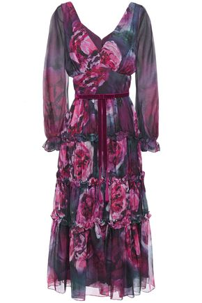 MARCHESA NOTTE Tiered bow-embellished floral-print chiffon midi dress
