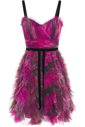 MARCHESA NOTTE Ruffle-trimmed pleated printed tulle mini dress