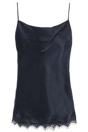 ELIE TAHARI Jerri lace-trimmed draped silk-satin camisole