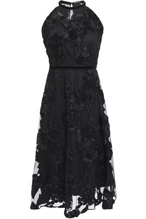 ELIE TAHARI Myranda velvet-trimmed embroidered tulle dress