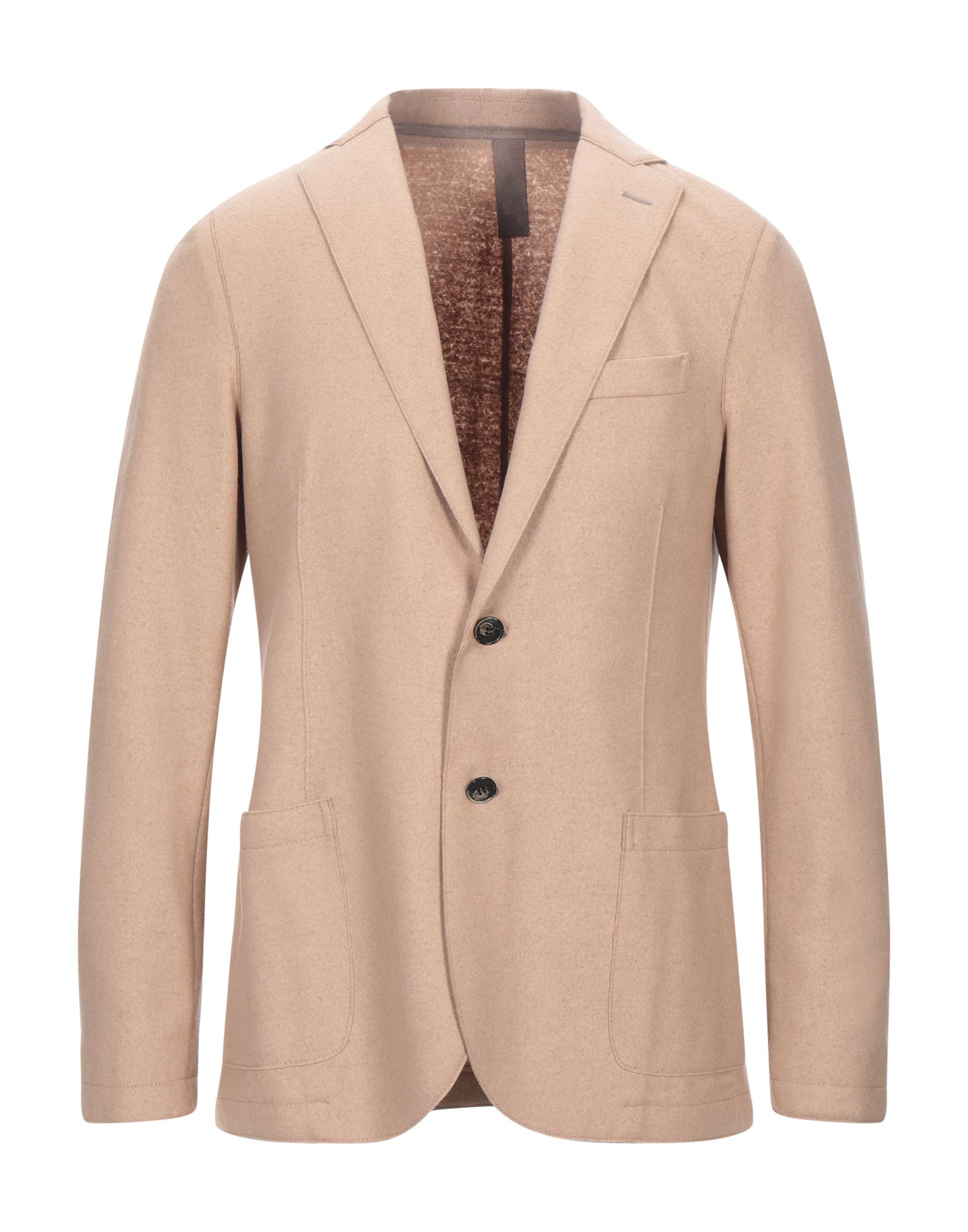 ELEVENTY Suit jackets. felt, no appliqués, solid color, multipockets, single chest pocket, one inside pocket, button closing, lapel collar, single-breasted, long sleeves, unlined, dual back vents, contains non-textile parts of animal origin. 80% Wool, 20% Polyamide, Polyester, Polyurethane