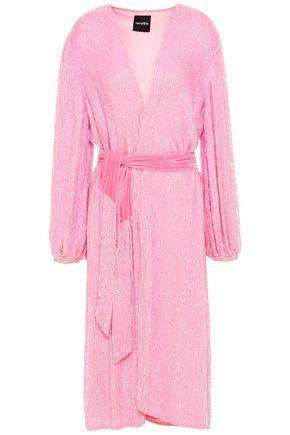 RETROFÊTE Audrey velvet-trimmed sequined chiffon wrap dress