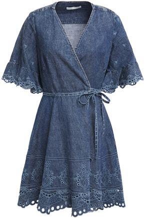 JONATHAN SIMKHAI Broderie anglaise-trimmed denim mini wrap dress