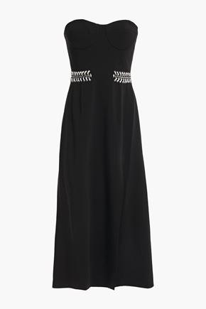 JONATHAN SIMKHAI Strapless embellished lace-up crepe midi dress