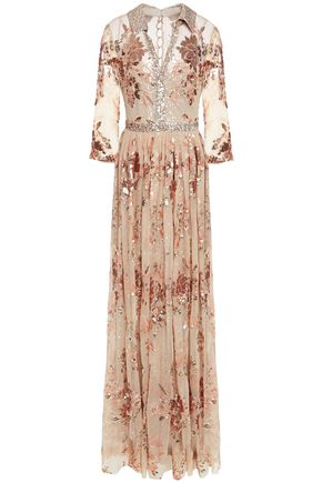 BADGLEY MISCHKA Layered sequin-embellished embroidered metallic gown
