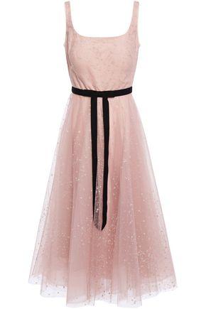 MARCHESA NOTTE Velvet-trimmed glitter-embellished flocked tulle midi dress