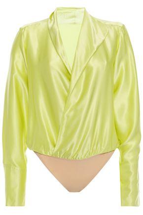 ALIX NYC Wrap-effect silk-satin bodysuit