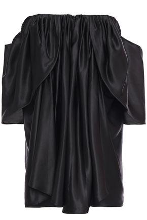 ESSE VIE Off-the-shoulder ruched silk-satin top