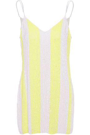 RETROFÊTE Striped sequined crepe de chine mini dress