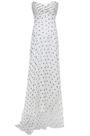 RETROFÊTE Strapless pintucked chiffon gown
