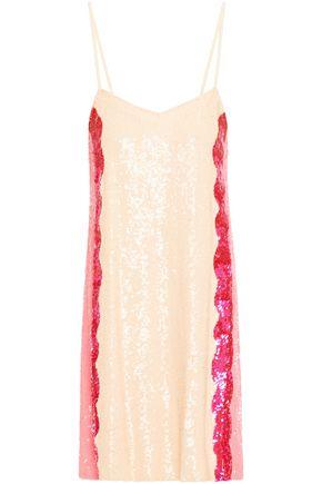 RETROFÊTE Georgia striped sequined chiffon mini slip dress