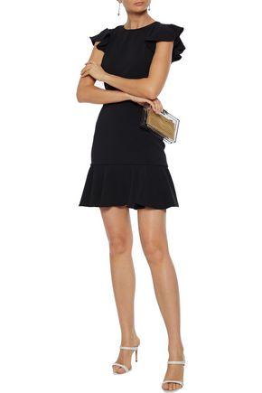 Jay Godfrey Jamison Open-back Ruffled Stretch-crepe Mini Dress In Black
