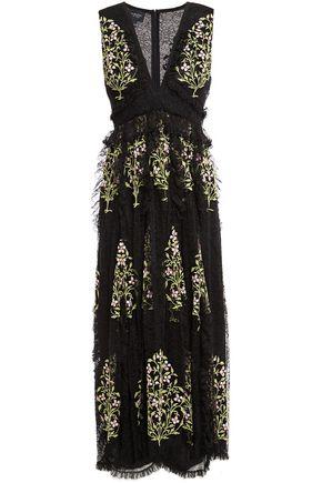 GIAMBATTISTA VALLI Grosgrain-trimmed ruffled embroidered lace midi dress