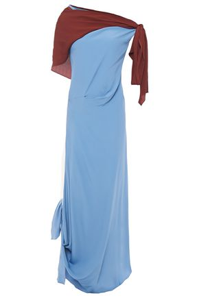 MARNI Off-the-shoulder gathered two-tone midi dress