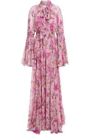 GIAMBATTISTA VALLI فستان سهرة بياقة فيونكة وبتصميم ملموم من الشيفون الحريري المطبع بالورود