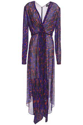 HOUSE OF HOLLAND Asymmetric printed tulle midi dress