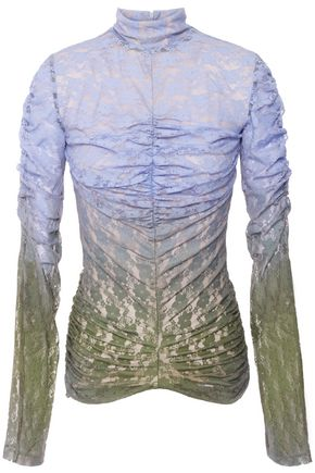 HOUSE OF HOLLAND Ruched dégradé printed lace top