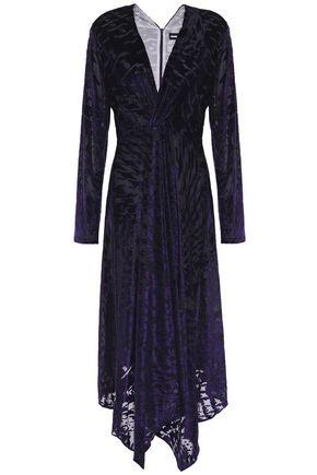 HOUSE OF HOLLAND Asymmetric devoré-velvet midi dress