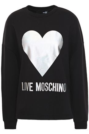 LOVE MOSCHINO Iridescent printed French cotton-terry sweatshirt