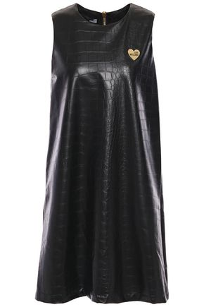 LOVE MOSCHINO Appliquéd faux croc-effect leather mini dress