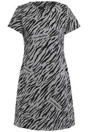 LOVE MOSCHINO فستان قصير من الصوف المصنوع من مزيج القطن مزخرف بنقوش الحمار الوحشي